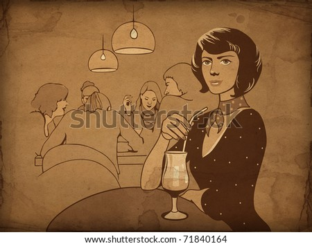 The girl with a drink at restaurant. Retro drawing - stock photo