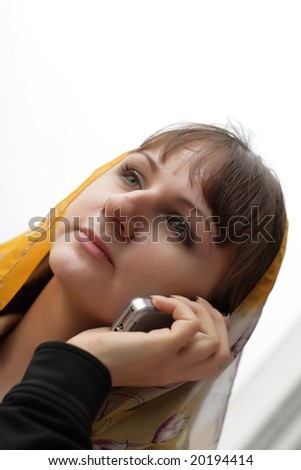 The girl with a mobile phone, outdoor - stock photo