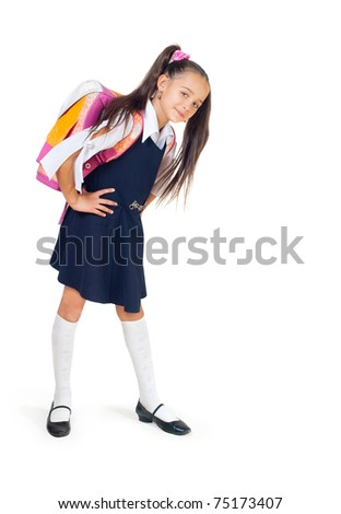 The girl with a school bag on a white background - stock photo
