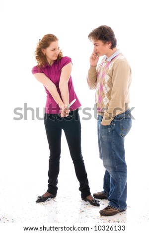 The girl with a young guy isolated on a white background