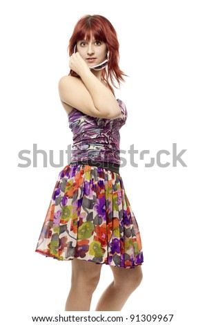 The girl with astonishment looks - stock photo
