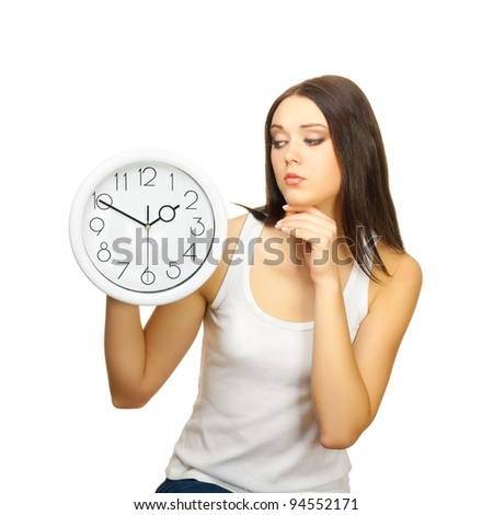 The girl with clock has reflected, on a white background