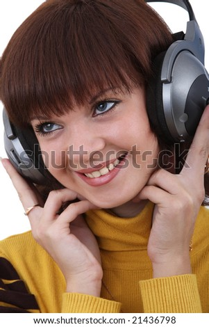 the girl with earphone on white background.