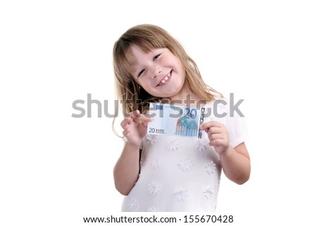 The girl with money in hands on a white background