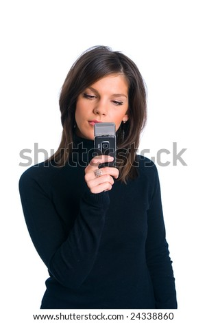 The girl with phone on a white background - stock photo