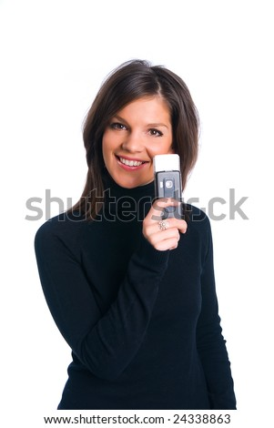 The girl with phone on a white background