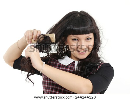 the girl with the dark hair - stock photo