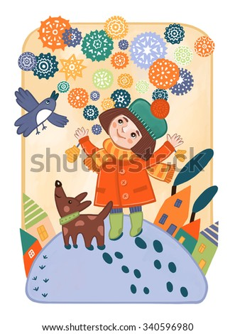 The girl with the dog is happy snow, winter and new year. Children's book illustration. - stock photo