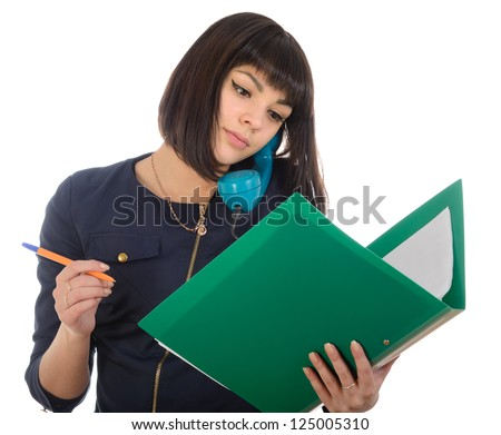 The girl with the pen and green folder. - stock photo