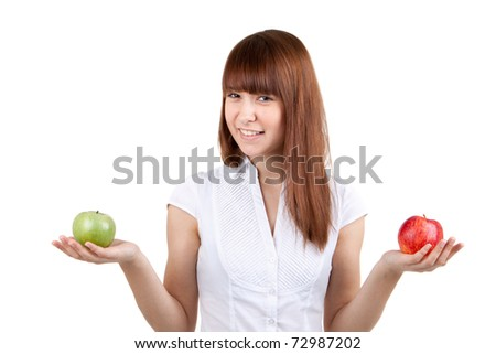 The girl with two apples