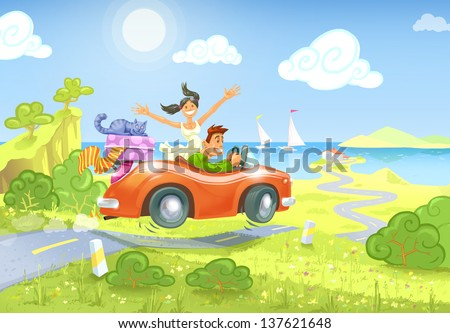 The glad man and the happy woman driving a car with a luggage and a cat to the seaside. - stock photo