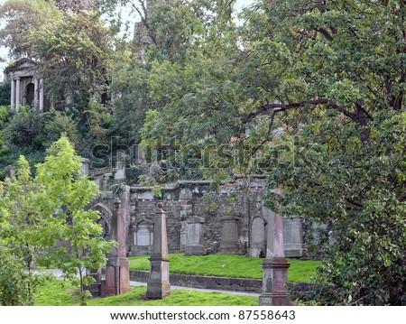 The Glasgow Necropolis, Victorian Gothic Garden Cemetery In Scotland