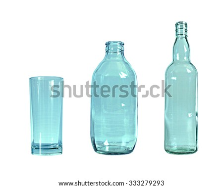 The glass and bottle  on white background