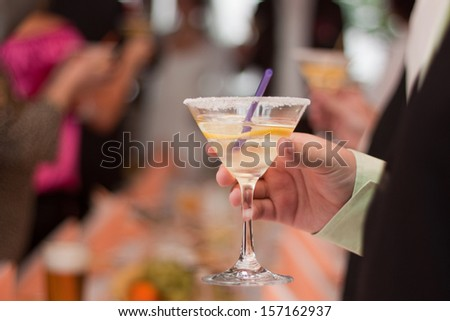 The glass in the hand, toast on the wedding