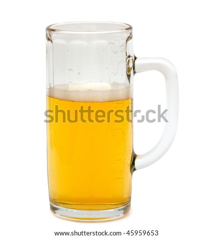 The glass of beer. Isolated over white.
