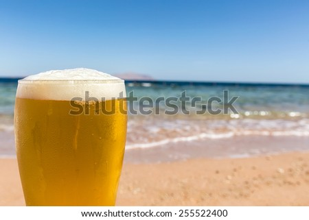 The glass of beer on the seafront