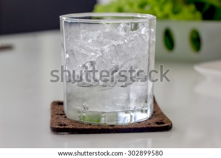 the glass of ice cube
