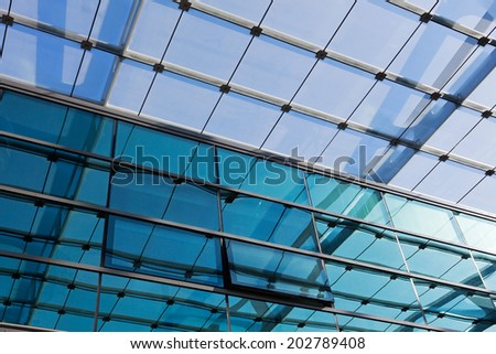 The glass roof of the station in the sunlight