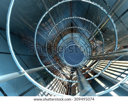 The glass tunnel with a lift. - stock photo