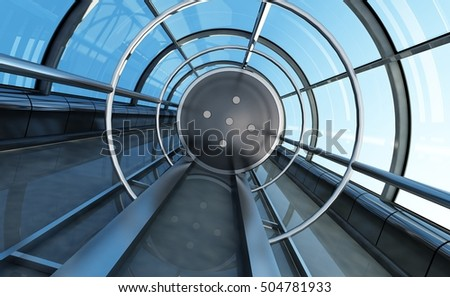 The glass tunnel with a lift.,3d render
