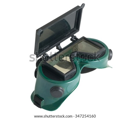 the glasses for welding on white background