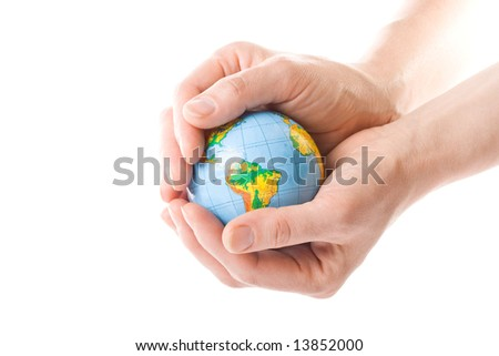 The globe in hands. Concept for environment conservation.
