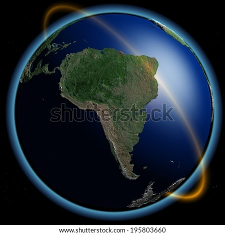 The globe in the night sky. - stock photo