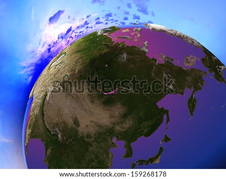 "The globe in the night sky.""Elemen ts of this image furnished by NASA"" - stock photo"