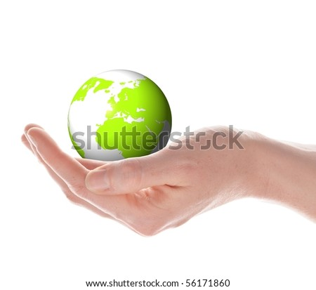 the globe in your hands concept with planet earth isolated on white - stock photo