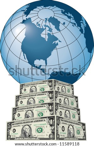 The globe on a stack of US dollars.
