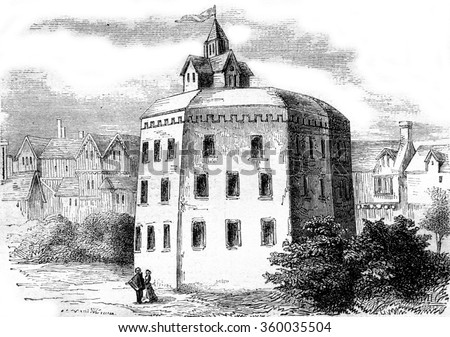 The Globe Shakespeare theater in Southwark, vintage engraved illustration. Magasin Pittoresque 1870.