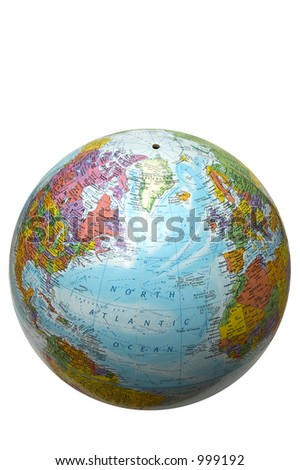 The globe with Atlantic ocean