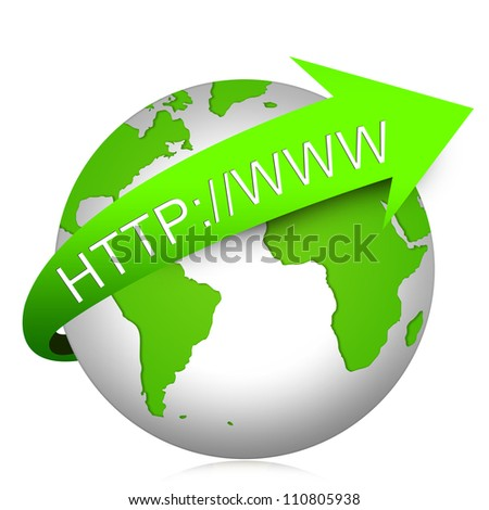 The Globe With Internet Address For Internet and Online Concept  Isolated on White Background - stock photo