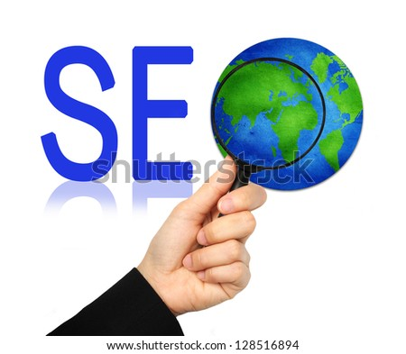 The Globe With Magnify Glass and SEO Word Isolated on White Background - stock photo