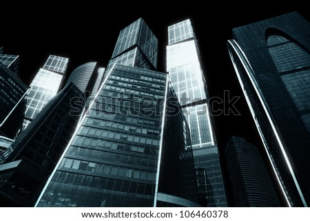 The gloomy city of skyscrapers - downtown - stock photo