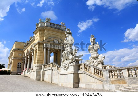 The Gloriette in the Schloss Schoenbrunn Palace Garden against blue sky in the summer. It was built in 1775, A UNESCO World Cultural Heritage. One of beautiful tourist attractions in Vienna, Austria
