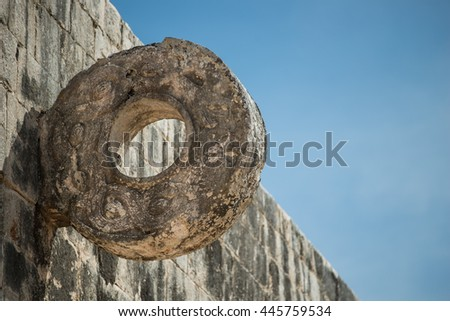 The goal at the Great Ballcourt at Chichen Itza. Players had to put a large rubber ball through the ring without the use of their hands.