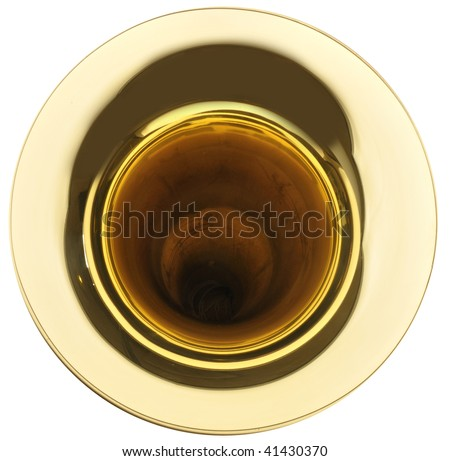 The goblet of gold brass tuba on white background - stock photo