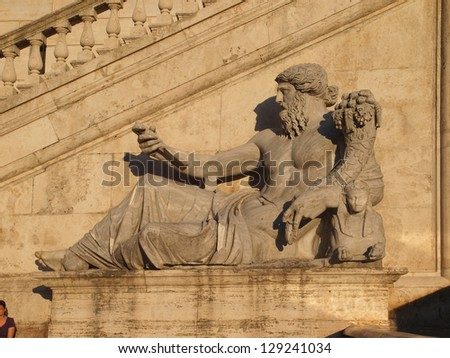 The God of the river Nile in Piazza del Campidoglio, Rome. - stock photo