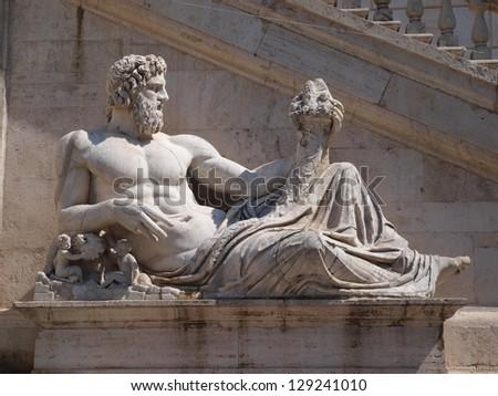 The God of the river Tiber in Piazza del Campidoglio, Rome. - stock photo