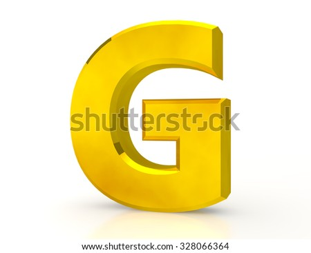 the Gold letter G on white background 3d rendering - stock photo