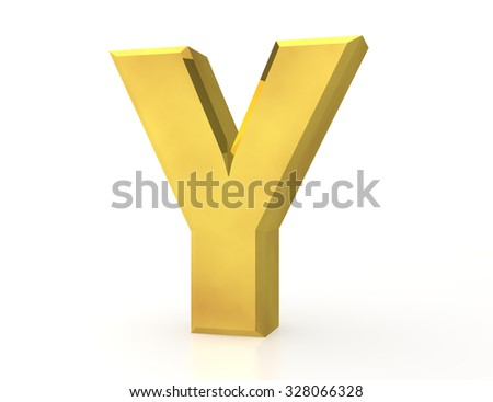 the Gold letter Y on white background 3d rendering