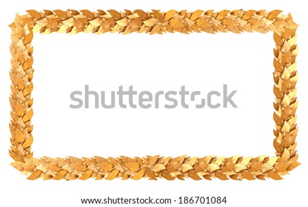 The gold rectangular frame of Laurel branches - stock photo