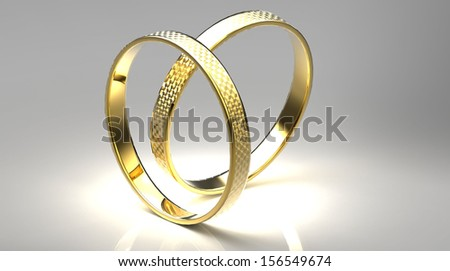 the  gold rings on a gray background