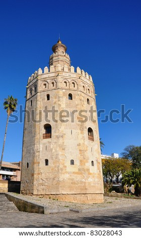 The Gold Tower next to the Guadalquivir River, Seville, Andalusia, Spain