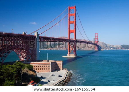 The Golden Gate Bridge and Battery Spencer - stock photo