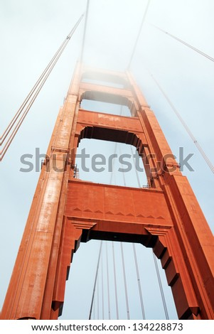 The Golden Gate bridge in a foggy day, San Francisco, USA,