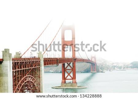 The Golden Gate bridge in a foggy day, San Francisco, USA, - stock photo