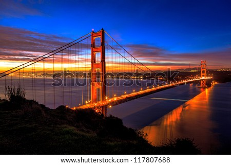 The Golden Gate Bridge in early morning - stock photo