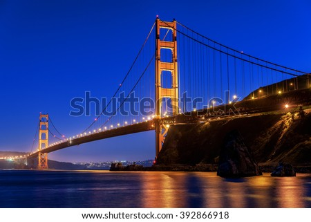 The Golden Gate Bridge in San Francisco at sunset, evening, twilight, photographed from Horseshoe bay, in Marin County, near Fort Baker.